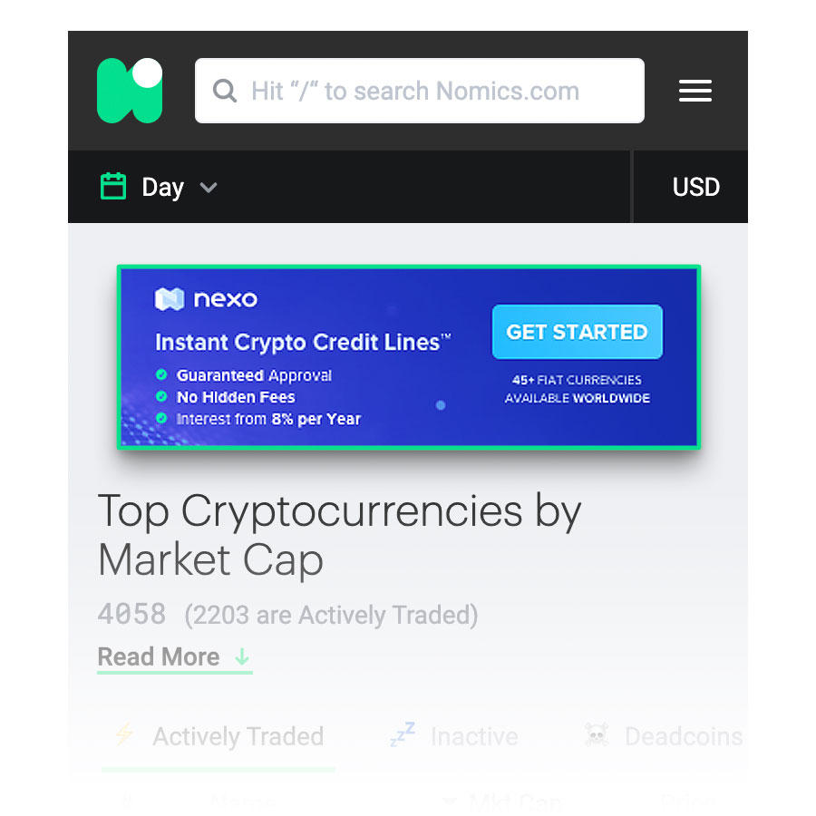 nexo banner ad screenshot nomics.com