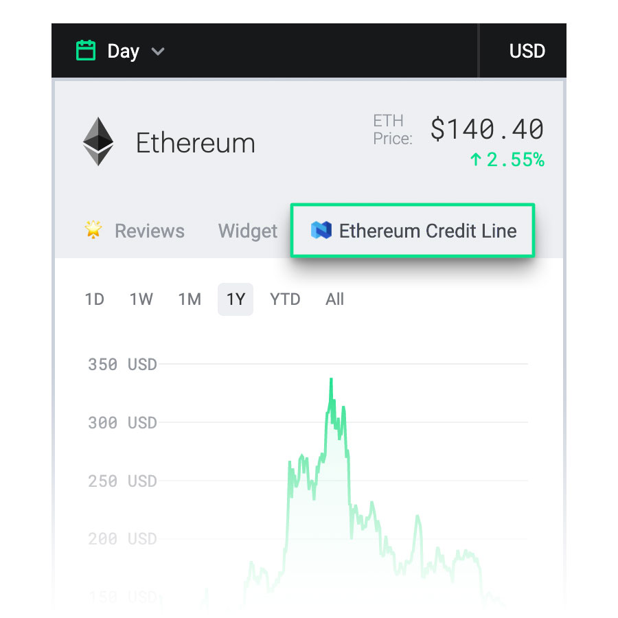 ethereum credit line screenshot